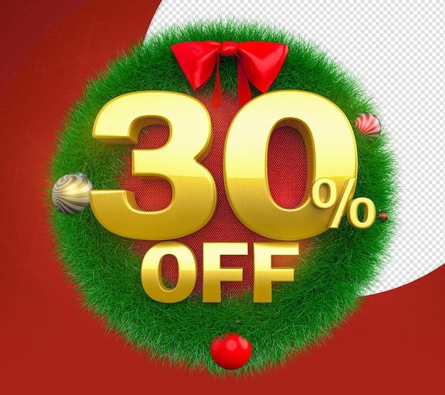 Świąteczny wieniec 30 off oferuje renderowanie 3d dla kompozycji