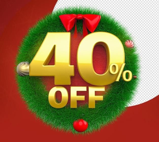 Świąteczny wieniec 40 off oferuje renderowanie 3d dla kompozycji
