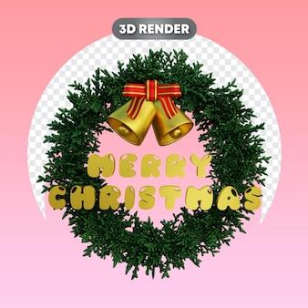 Świąteczny wieniec i tekst z dzwonkami i wstążką obiekt 3d