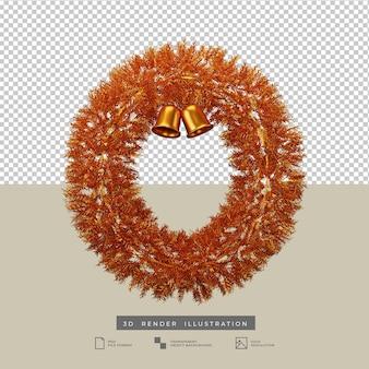 Świąteczny złoty wieniec z dzwonkiem 3d ilustracją