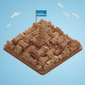 Światowy dzień 3d miniaturowy model miasta na stole