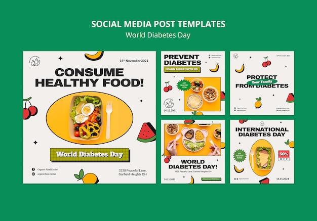 Światowy dzień cukrzycy insta projekt szablonu postu w mediach społecznościowych