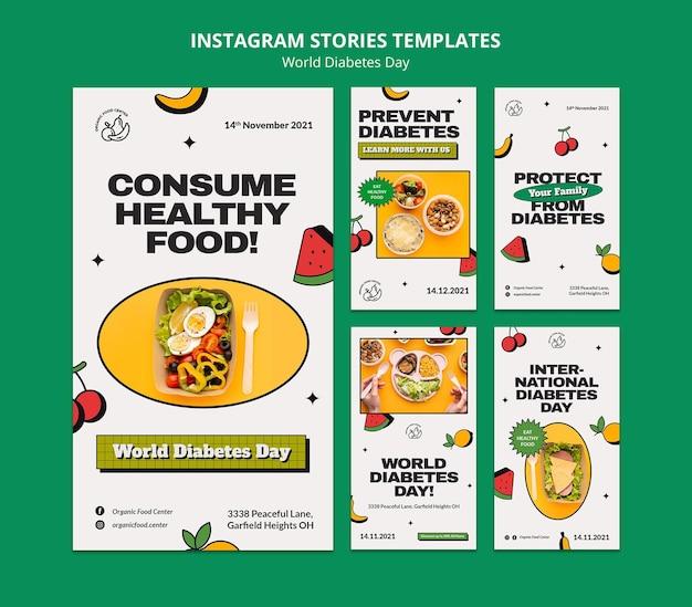 Światowy dzień cukrzycy projekt szablonu historii insta