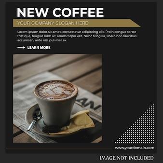 Światowy dzień kawy na instagramie lub szablon transparentu
