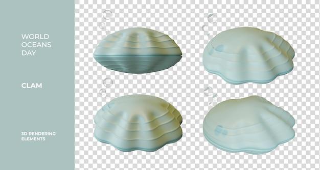Światowy dzień oceanów clam 3d renderowania elementów