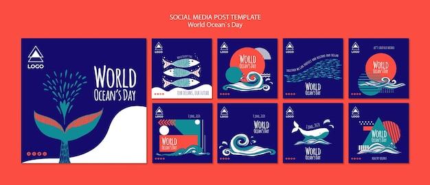 Światowy dzień oceanu szablon mediów społecznościowych post