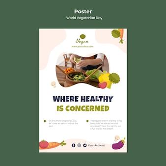 Światowy dzień wegetariański plakat zdrowej żywności