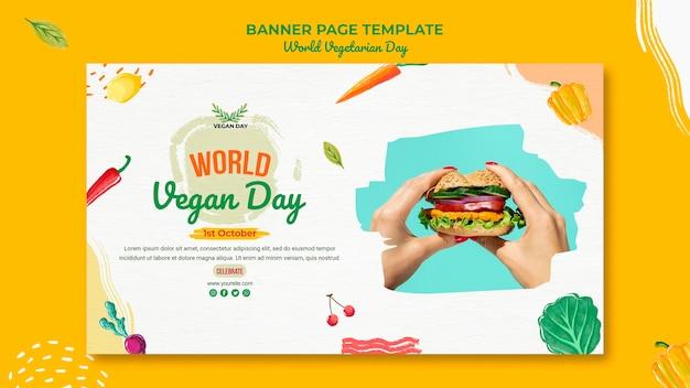 Światowy dzień wegetariański poziomy baner