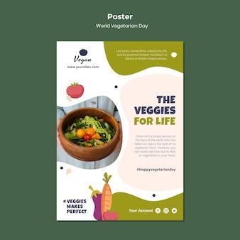 Światowy dzień wegetariański szablon plakatu zdrowej żywności