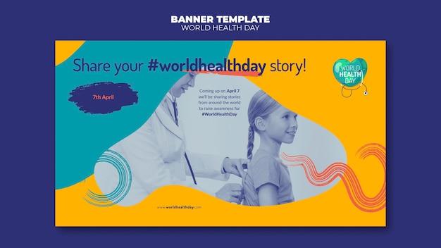 Światowy dzień zdrowia poziomy baner ze zdjęciem