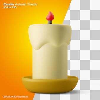 Świeca woskowa z płomieniem na talerzu ilustracja renderowania 3d ikona edytowalna na białym tle