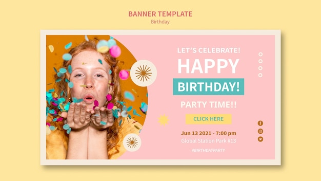 Świętuj urodziny poziomy baner szablon