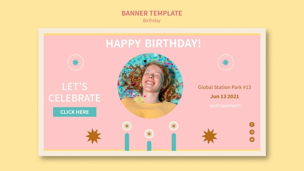 Świętuj urodziny poziomy baner