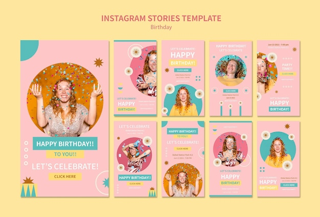 Świętuj urodziny szablonu opowiadań na instagramie