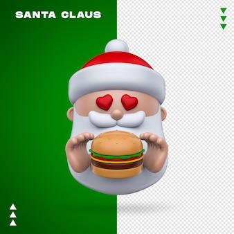 Święty mikołaj burger renderowania 3d na białym tle