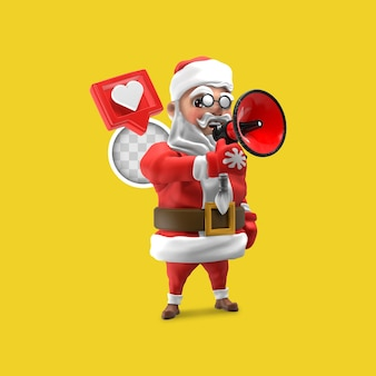 Święty mikołaj ogłasza boże narodzenie z megafonem. renderowanie 3d