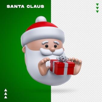 Święty mikołaj prezent renderowania 3d na białym tle