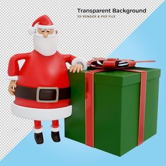 Święty mikołaj z pudełkiem prezentowym. ilustracja 3d