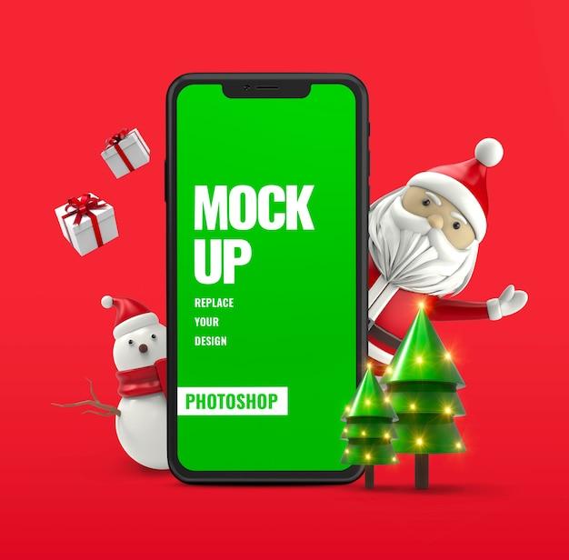 Święty mikołaj z reklamą makiety smartfona bałwana
