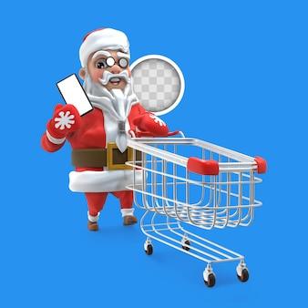 Święty mikołaj z zakupami online. renderowanie 3d
