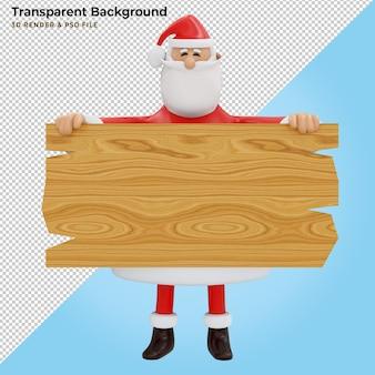 Święty mikołaj ze znakiem drewna. ilustracja 3d