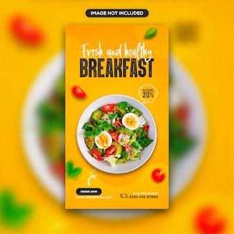Świeża i zdrowa promocja żywności w mediach społecznościowych i projekt szablonu baneru na instagram