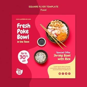 Świeża kwadratowa ulotka z poke bowl
