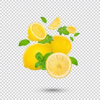 Świeża Limonka Z Liśćmi Mięty Na Białym Tle Premium Psd