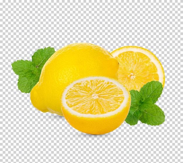 Świeża limonka z liśćmi mięty na białym tle