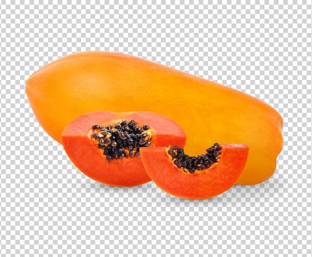 Świeża papaja na białym tle