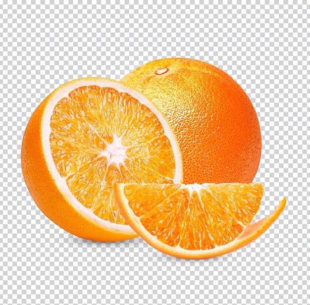 Świeża pomarańcza na białym tle premium psd