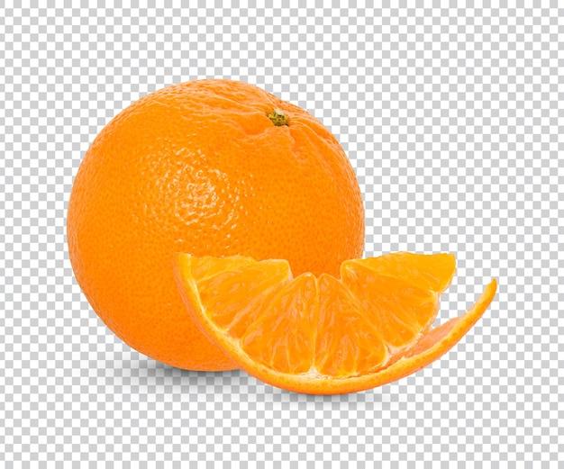 Świeża pomarańcza z izolowanymi liśćmi