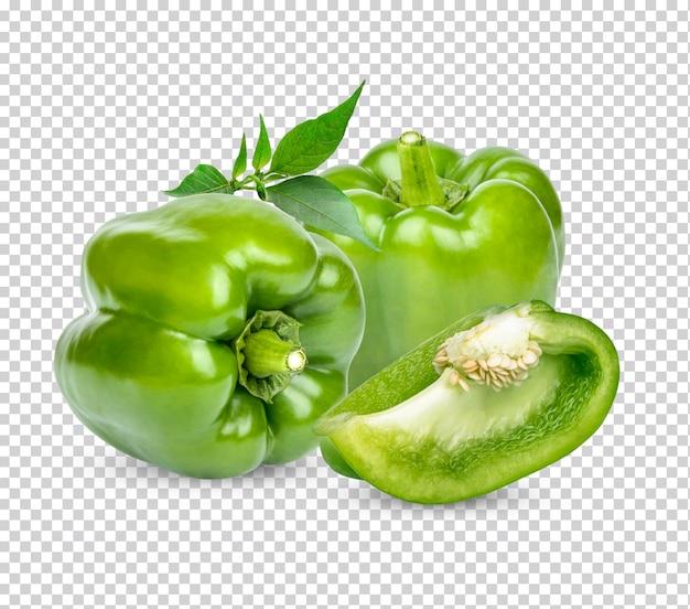 Świeża zielona papryka słodka z izolowanymi liśćmi premium psd