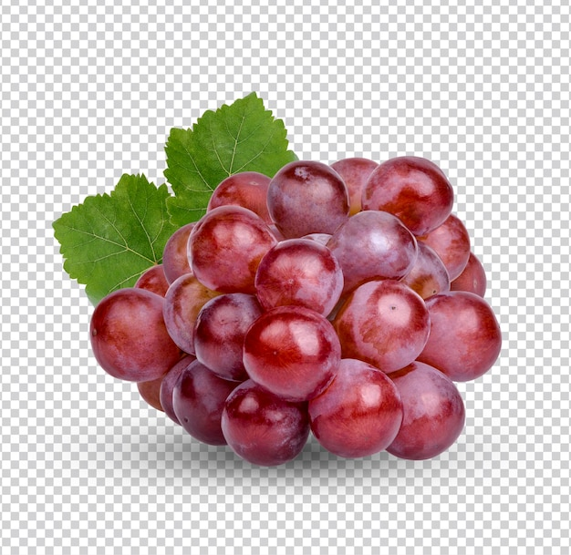 Świeże czerwone winogrona z izolowanymi liśćmi premium psd