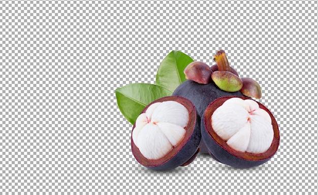 Świeże, dojrzałe owoce mangostanu z liściem