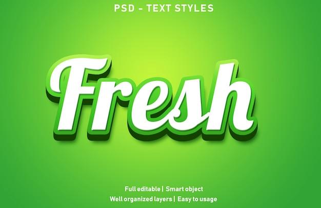 Świeże efekty tekstowe edytowalny styl psd