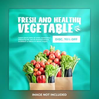 Świeże i zdrowe warzywne posty w mediach społecznościowych i szablon na instagramie