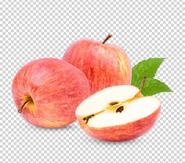 Świeże jabłko z liśćmi na białym tle