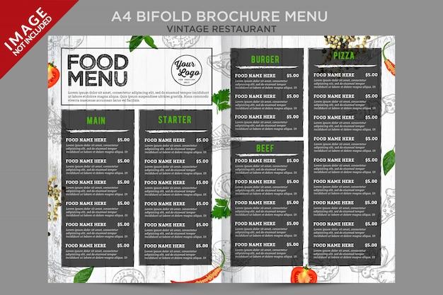 Świeże menu broszury vintage wewnątrz serii bifold