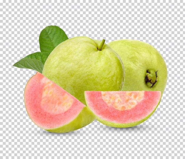 Świeże owoce guawy z izolowanymi liśćmi
