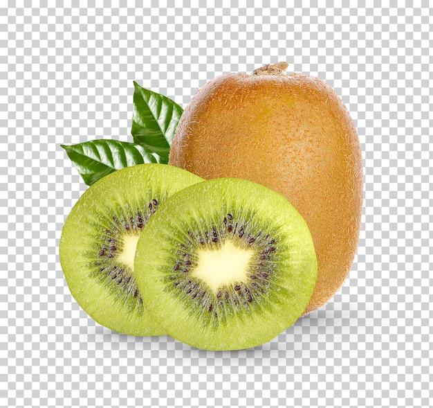Świeże owoce kiwi z liśćmi na białym tle