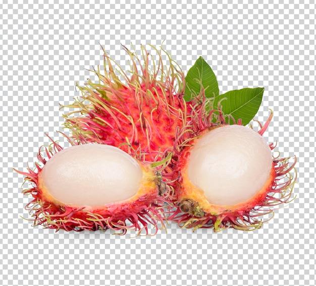 Świeże owoce rambutanu z izolowanymi liśćmi premium psd