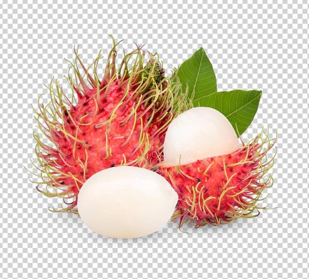 Świeże owoce rambutanu z izolowanymi liśćmi