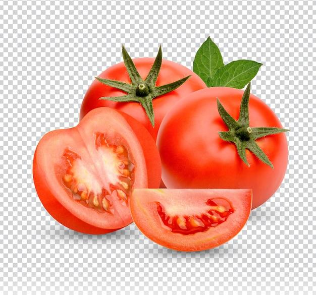 Świeże pomidory z liśćmi na białym tle