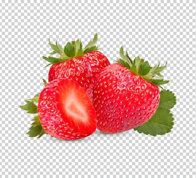 Świeże truskawki z liśćmi na białym tle