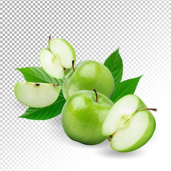 Świeże zielone jabłka na białym tle