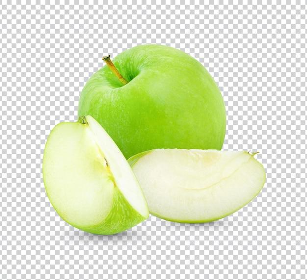 Świeże zielone jabłko na białym tle projekt
