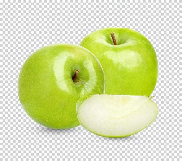 Świeże zielone jabłko na białym tle