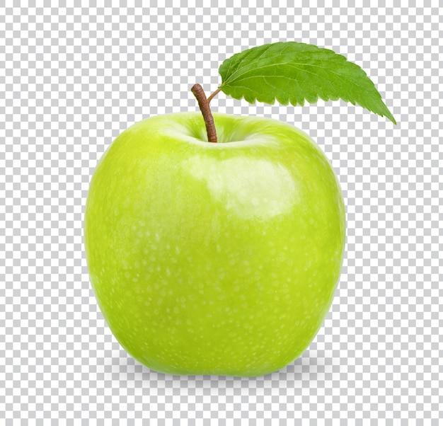 Świeże zielone jabłko z liśćmi na białym tle