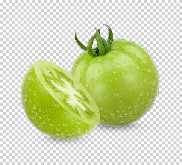 Świeże zielone pomidory na białym tle